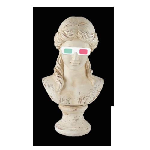 Marble statue med 3d-briller