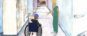 Dear Mareitha - Illustrasjon av en i rullestol og en sykepleier