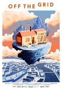 Off the grid - illustrasjon av en hus som svever